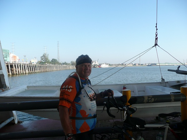 On the ferry crossing the Mississippi River from New Orleans to Algiers.