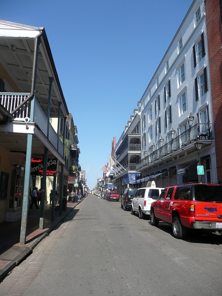 Looking down Bourbon Street from the corner of St Louis